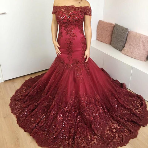 Image of Burgundy Lace off-the-shoulder Evening Dresses Mermaid Prom Gowns