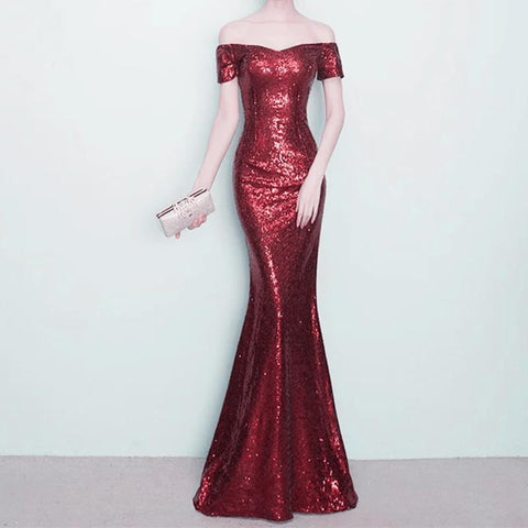 Image of V-neck Off The Shoulder Long Sequin Mermaid Bridesmaid Dresses