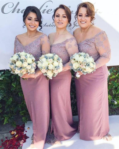 Image of Elegant-Lace-Sleeves-Bridesmaid-Dress-For-Women