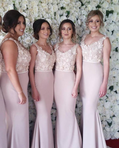 Image of Elegant-Mermaid-Long-Formal-Bridesmaid-Dresses-V-neck-Evening-Gowns