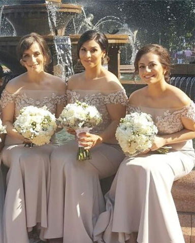 Image of Summer-Bridesmaid-Dresses-Off-The-Shoulder-Mermaid-Formal-Gowns