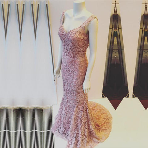 Image of Light Pink V-neck Open Back Lace Mermaid Evening Dresses