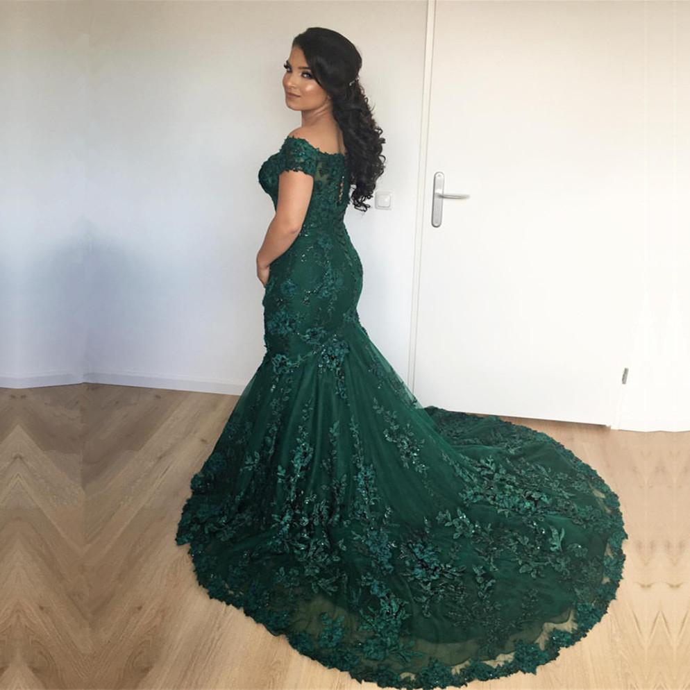 Stylish Lace Mermaid Evening Dresses Off-the-shoulder Prom Gowns 2018