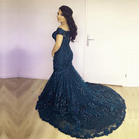 Image of Stylish Lace Mermaid Evening Dresses Off-the-shoulder Prom Gowns 2018