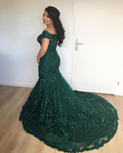 Afbeelding in Gallery-weergave laden, Stylish Lace Mermaid Evening Dresses Off-the-shoulder Prom Gowns 2018