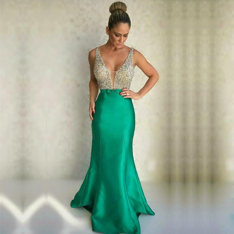 Gorgeous Beaded Long Satin V Neck Mermaid Evening Dresses 2017