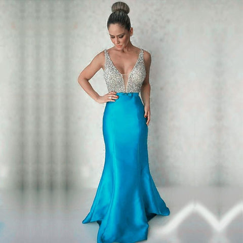 Image of Gorgeous Beaded Long Satin V Neck Mermaid Evening Dresses 2017