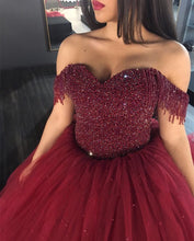 Load image into Gallery viewer, Burgundy Wedding Dresses Ball Gowns Off The Shoulder With Tassel