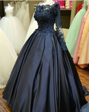 Load image into Gallery viewer, elegant lace beaded navy blue satin ball gowns long sleeves evening prom dresses