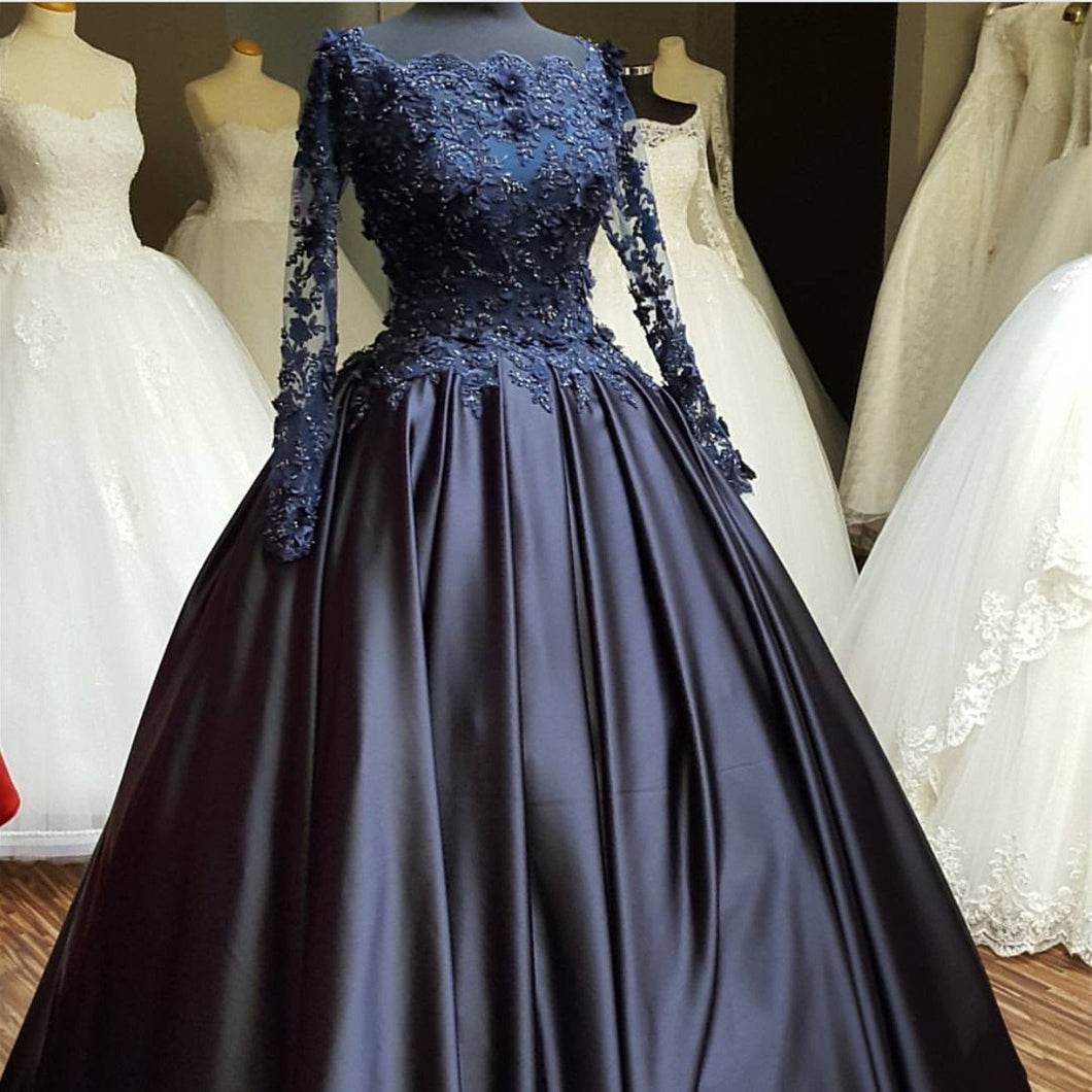 elegant lace beaded navy blue satin ball gowns long sleeves evening prom dresses