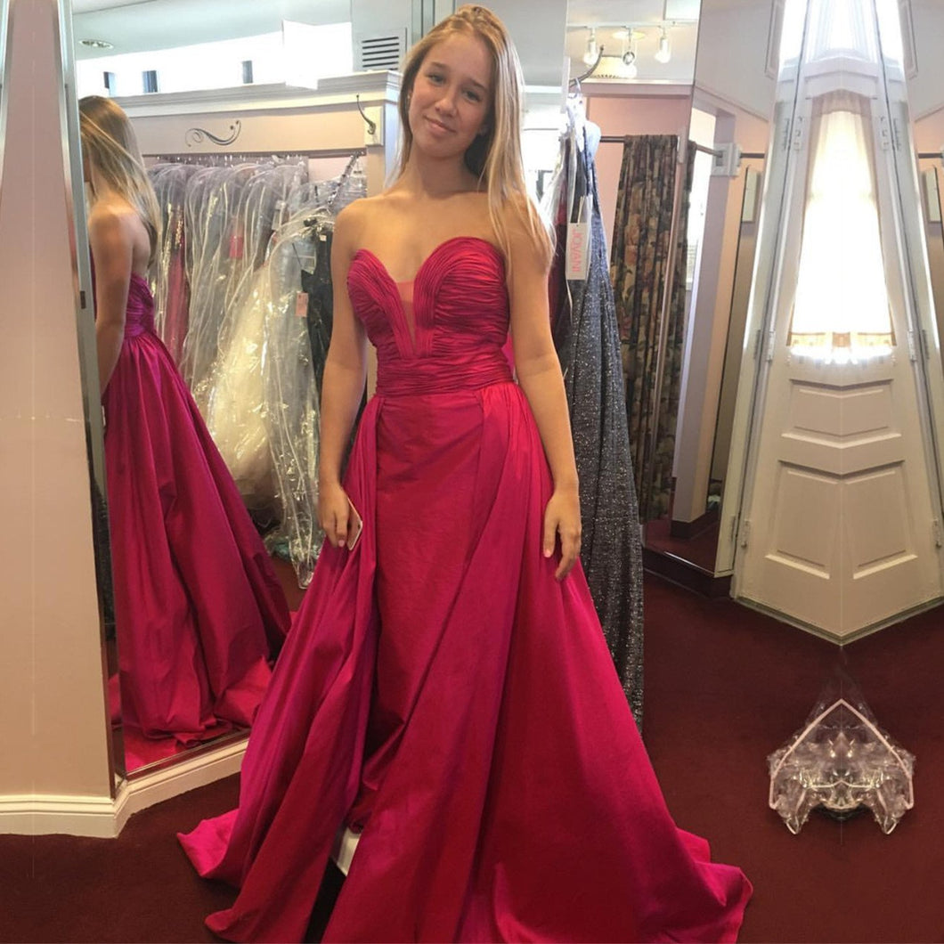 Long Taffeta Ruched Sweetheart Mermaid Evening Dresses Pink Prom Gowns
