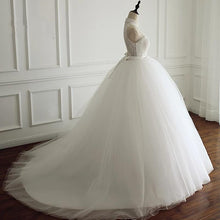 Afbeelding in Gallery-weergave laden, High Neck Open Back Tulle Ball Gown Wedding Dresses