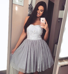 Chic Lace Appliques Sweetheart Tulle Cocktail Party Dresses