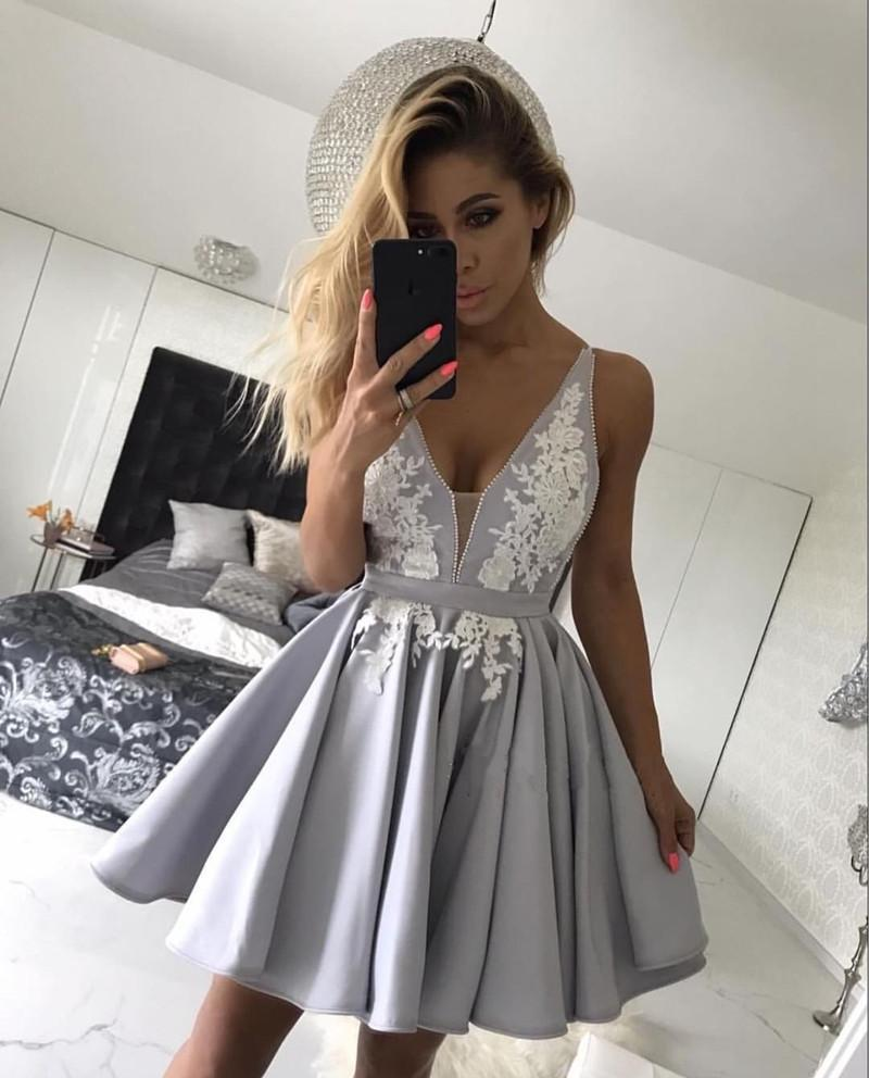 87d41fcf63ce3c Silver Satin V-neck Homecoming Dresses Short Lace Appliques Prom Gowns.  Double tap to zoom