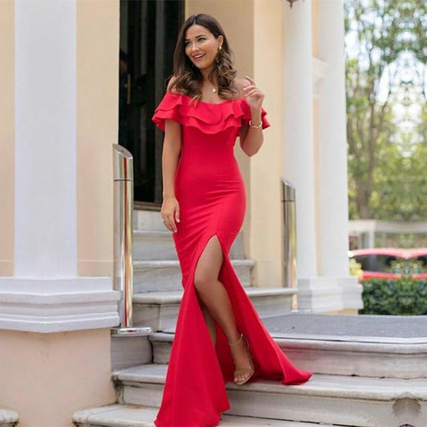 Image of Long Jersey Ruffle Sleeves Prom Dresses 2018 Mermaid Evening Gowns Leg Split