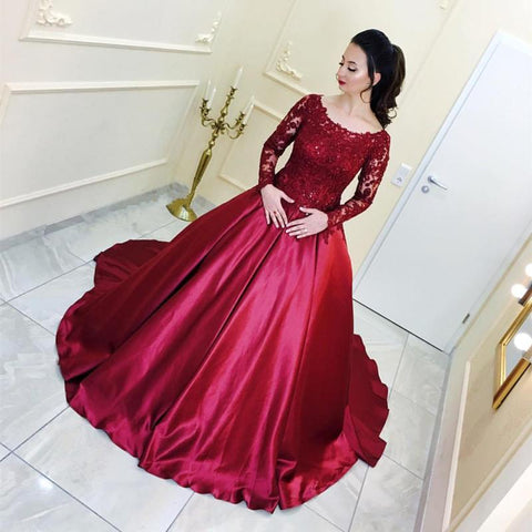 Image of Burgundy Satin Ball Gown Wedding Dresses Lace Long Sleeves