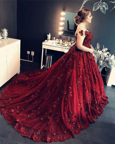 Image of Burgundy-Ball-Gowns-Quinceanera-Dresses-Lace-Off-The-Shoulder-Prom-Gowns