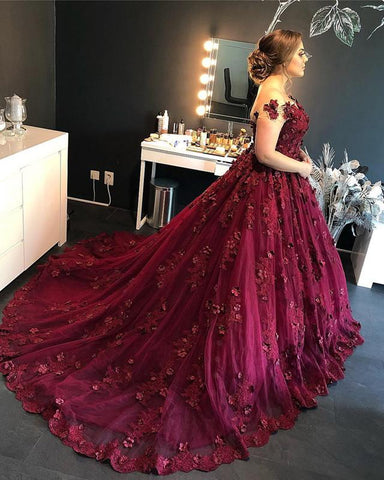 Image of Fuchsia-Lace-Ball-Gowns-Wedding-Dresses-For-Bride