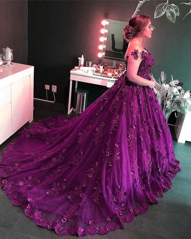 Purple-Lace-Wedding-Dresses-Ball-Gowns
