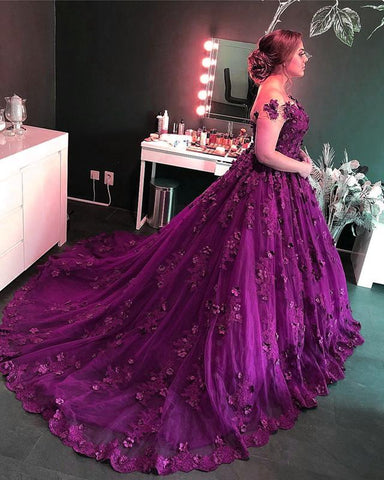 Image of Purple-Lace-Wedding-Dresses-Ball-Gowns