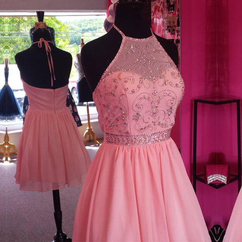 Image of Chic Beaded Halter Pink Chiffon Homecoming Dresses Short Prom Gowns 2017