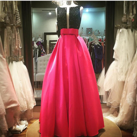 Image of Black Beaded Top Bow Sashes Pink Satin Prom Dresses