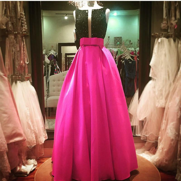 Black Beaded Top Bow Sashes Pink Satin Prom Dresses