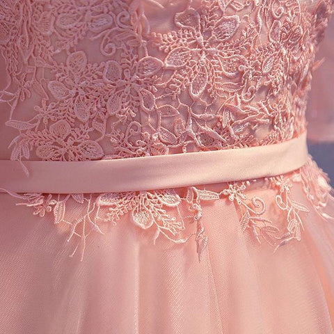 Image of elegant pink lace appliques off the shoulder tulle bridesmaid dresses short