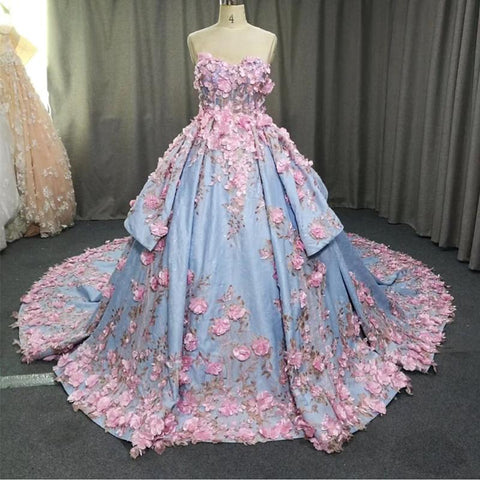 Image of Amazing 3D Floral Lace Flower Satin Wedding Dresses Sweetheart Ball Gowns