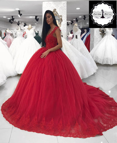 Image of Lace V-neck Red Tulle Ball Gown Wedding Dresses For Bride