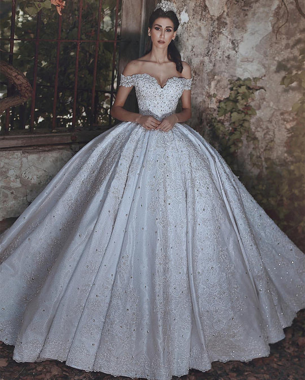 Off The Shoulder Sweetheart Satin Ball Gowns Wedding Dresses Lace Appliques