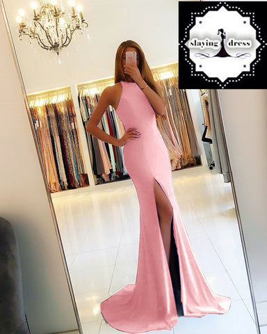 Image of pink-mermaid-evening-dress