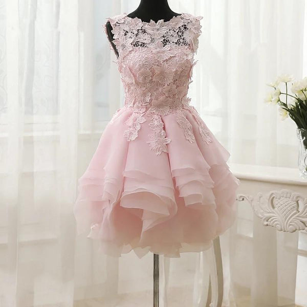 Elegant Floral Lace Ball Gowns Organza Layered Homecoming Dresses