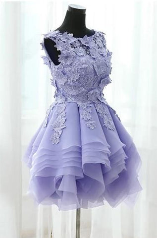 Image of Elegant Floral Lace Ball Gowns Organza Layered Homecoming Dresses