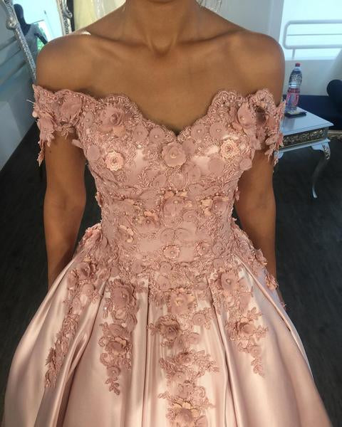 Light Pink Lace V-neck Ball Gown Satin Wedding Dress Off The Shoulder