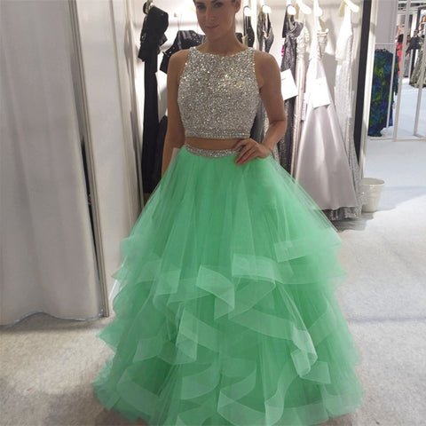 Image of Exquisite Sequin Beaded Organza Ruffles Prom Dresses Two Piece