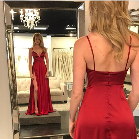 Image of Sexy Deep V Neck Long Satin Burgundy Evening Dresses 2019