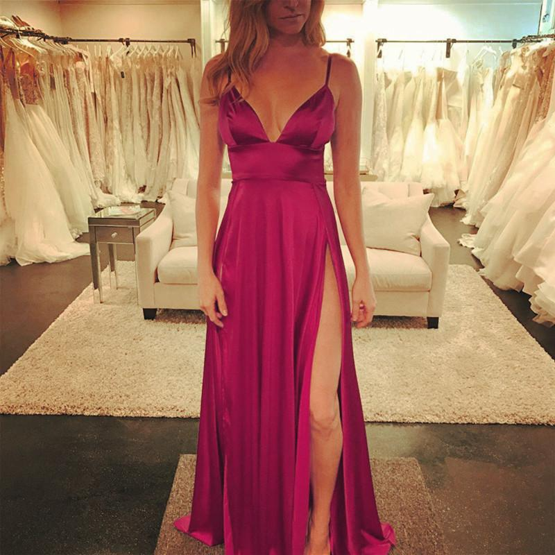 Sexy Deep V Neck Long Satin Burgundy Evening Dresses 2019