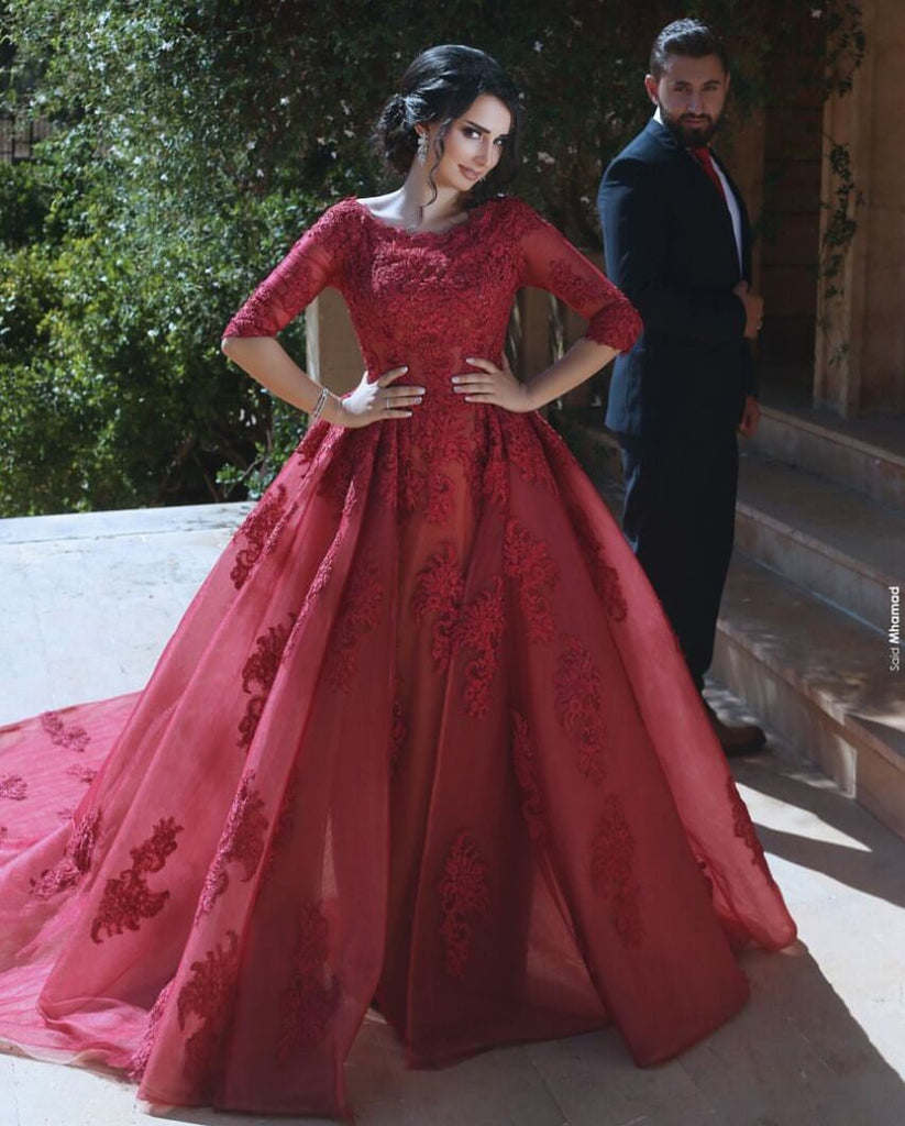 3270426a6ce Double tap to zoom · Modest Lace Appliques Tulle Long Burgundy Prom Dresses  With Half Sleeves