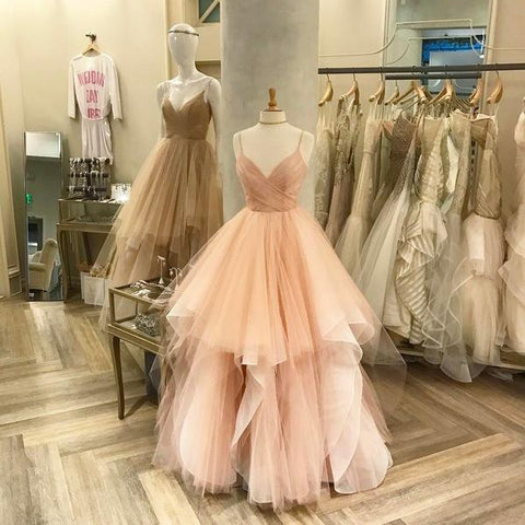 Image of blush pink white champagne tulle v-neck wedding dresses ball gowns