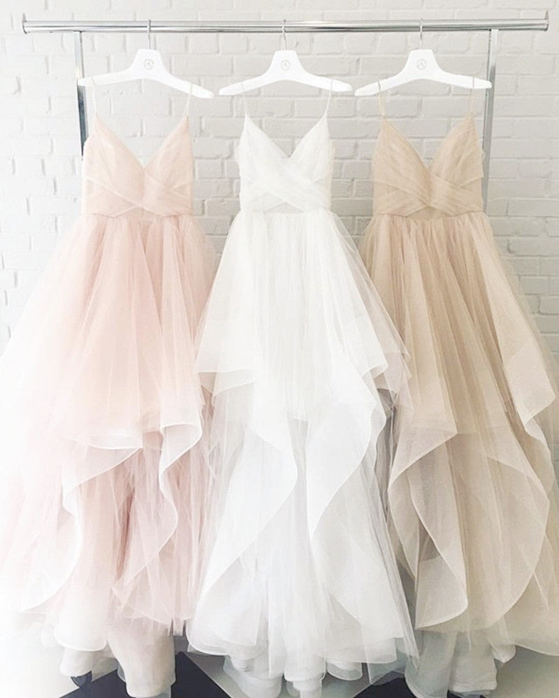 Pink And White Wedding Gowns: Blush Pink White Champagne Tulle V-neck Wedding Dresses