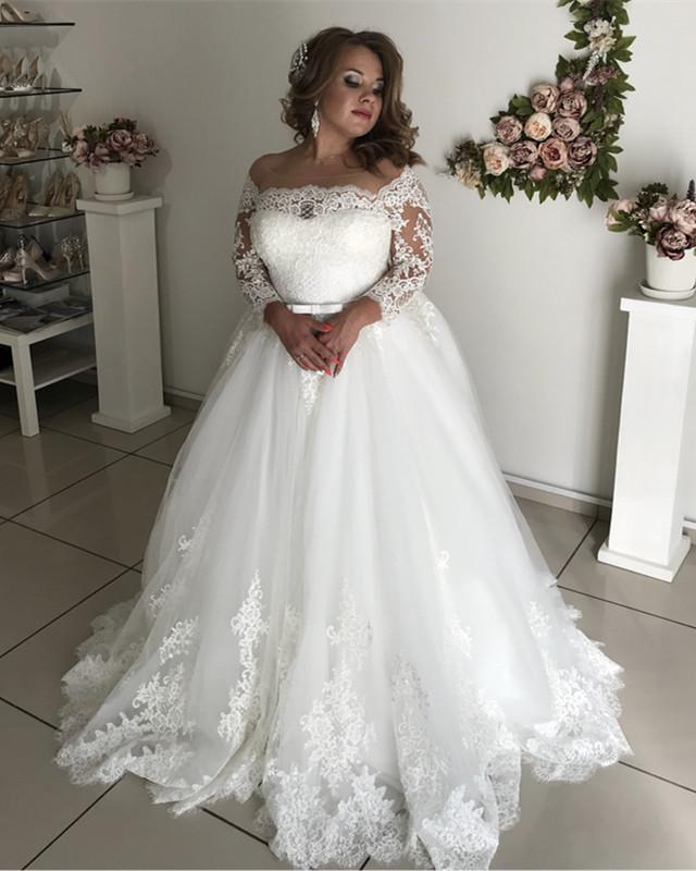 A-line Illusion Lace Long Sleeves Tulle Wedding Dresses Plus Size