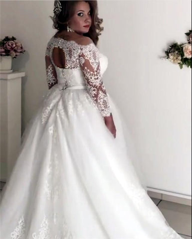 Image of A-line Illusion Lace Long Sleeves Tulle Wedding Dresses Plus Size