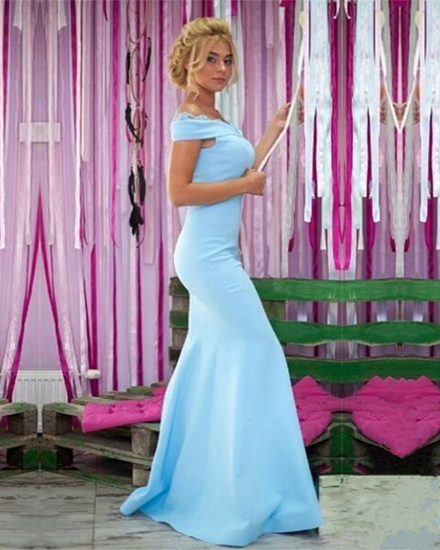 Light Blue Jersey Mermaid Prom Dresses V-neck Off Shoulder Evening Gowns
