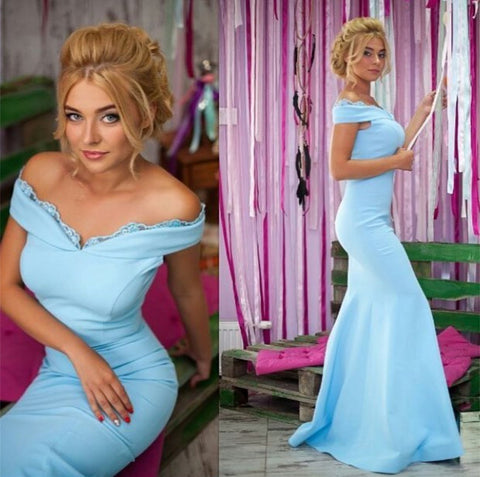 Image of Light Blue Jersey Mermaid Prom Dresses V-neck Off Shoulder Evening Gowns
