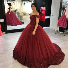 Load image into Gallery viewer, Tulle Ball Gown Dresses Lace Edge V Neck Off The Shoulder