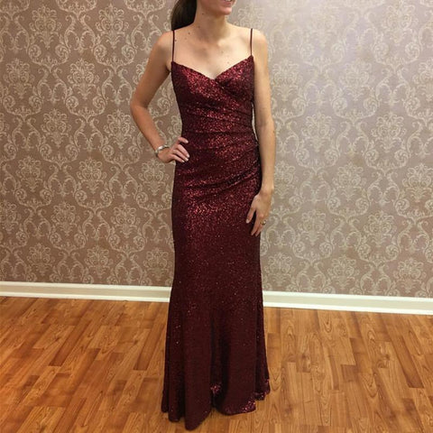 Image of Long Burgundy Sequins V Neck Mermaid Bridesmaid Dresses
