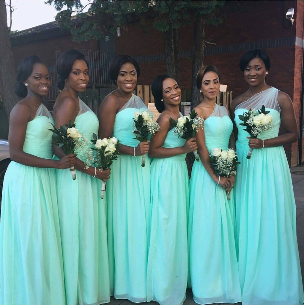 Mint Green Chiffon One Shoulder Bridesmaid Dresses For Wedding Party