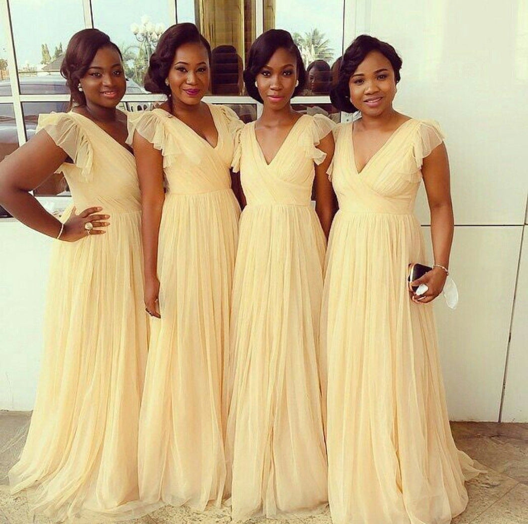 Chic V-neck Cap Sleeves Tulle Long Bridesmaid Dresses