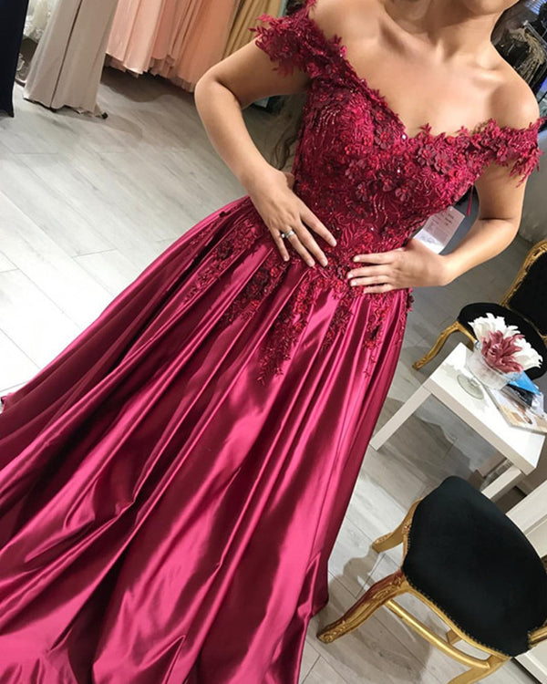 Wine Red Satin Prom Dresses V-neck Lace Embroidery Evening Gowns Off Shoulder